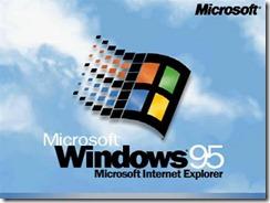 "1995.8.24 Windows 95 ——""蓝天白云""并突出显示了集成的IE浏览器"